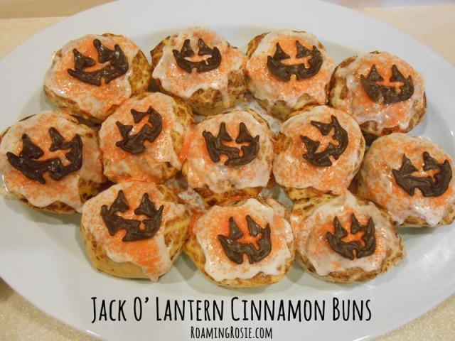 Jack O Lantern Cinnamon Buns