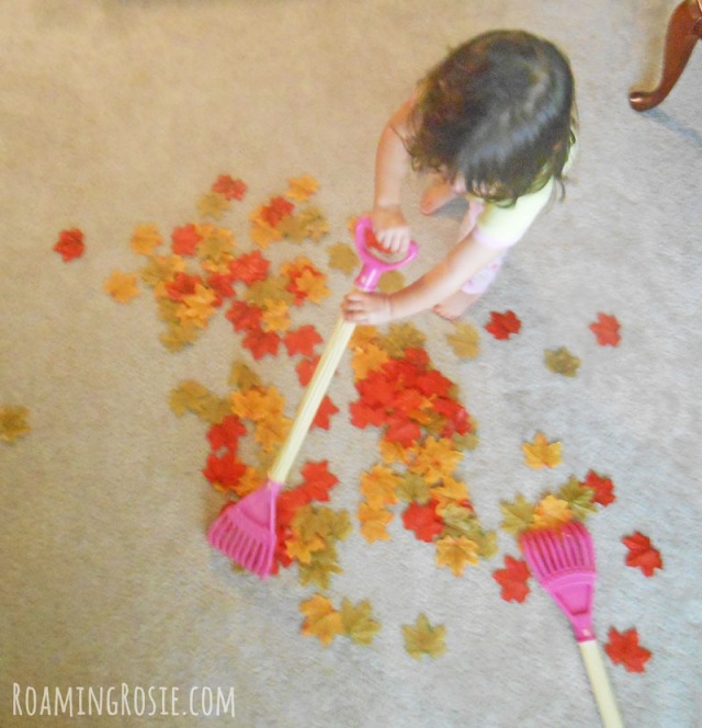 Pretend Play:  Raking Autumn Leaves ...... a fun fall activity for kids!
