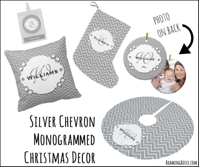 Silver and White Chevron Monogrammed Christmas Decor