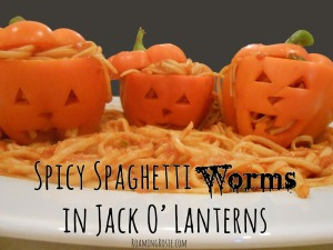 Spicy Spaghetti Worms in Pepper Jack O Lanterns 1