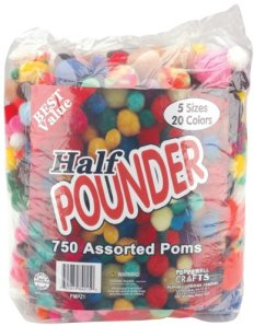 Half Pound Bag of Pom Poms for Crafts
