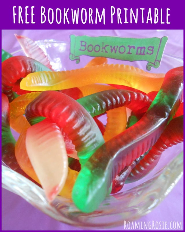 Free Bookworm Sign Printable for Gummy Worms