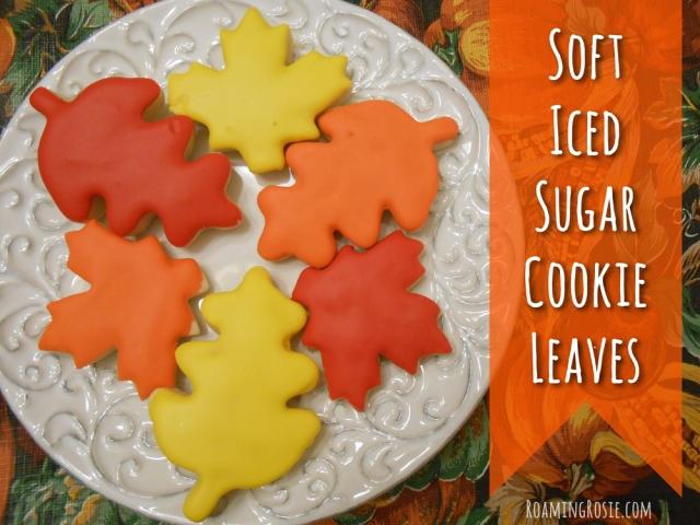 Soft Iced Sugar Cutout Cookie Leaves