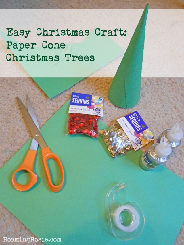 Easy christmas craft decorating paper cone christmas trees at