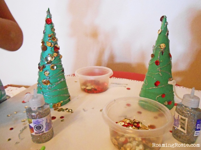 Easy Christmas Craft:  Decorating Paper Cone Christmas Trees at RoamingRosie.com