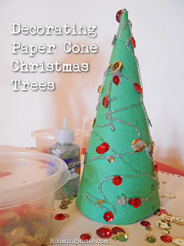 easy christmas craft decorating paper cone christmas trees at roamingrosiecom - Easy Christmas Tree