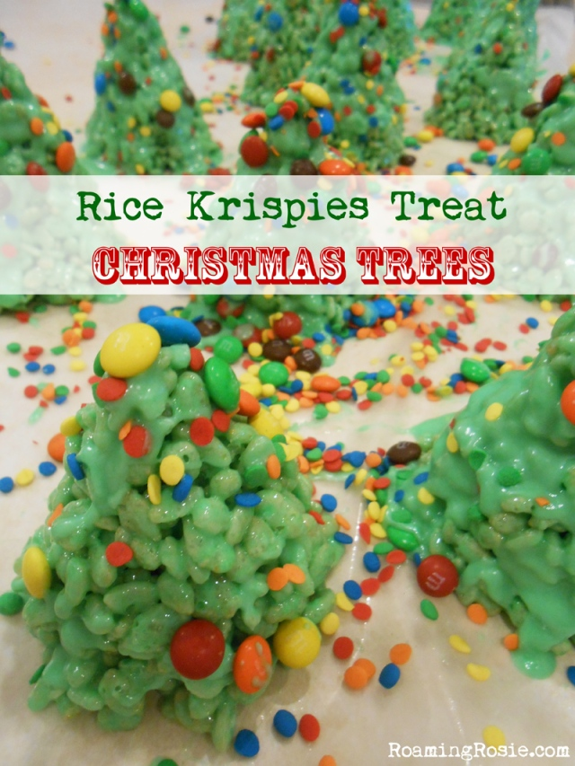 Decorated rice krispies treat marshmallow christmas trees for How do you make rice crispy treats