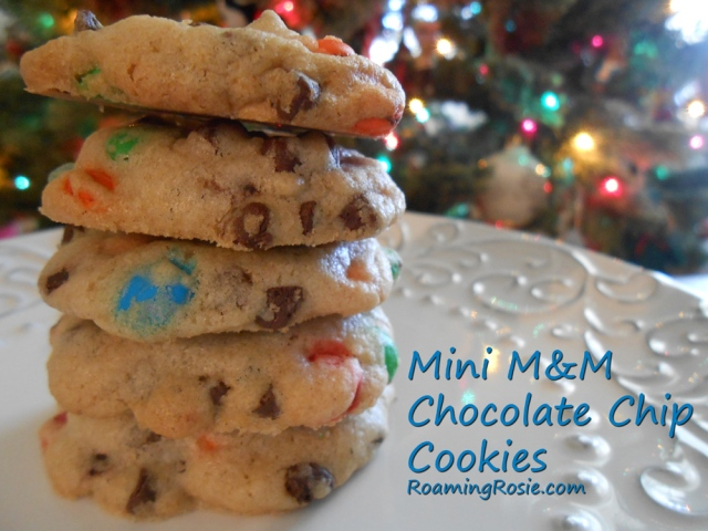 Mini M&M Chocolate Chip Cookies at RoamingRosie.com