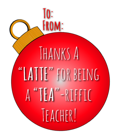 Thanks a Latte Gift Tag for Teachers:  FREE PRINTABLE from RoamingRosie.com