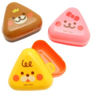 Kotobuki Children's Bub a Buu Snack Container, Triangular Onigiri Animals, Set of 3