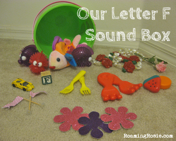 F is for Letter F Sound Box {Alphabet Activities at RoamingRosie.com}