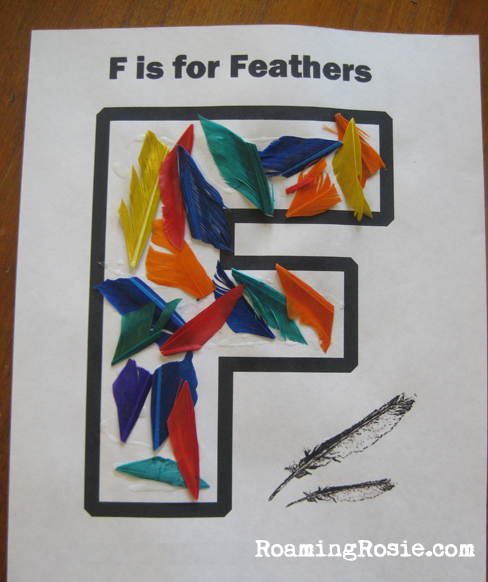 F is for Feathers {Alphabet Activities at RoamingRosie.com}