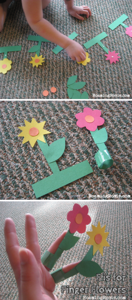 F is for Finger Flower Puppets  {Alphabet Activities at RoamingRosie.com}