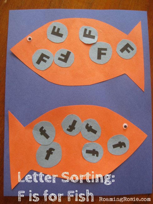 F is for Fish Letter Sorting  {Alphabet Activities at RoamingRosie.com}