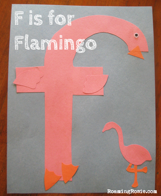 F is for Flamingo {Alphabet Activities at RoamingRosie.com}