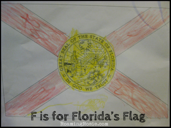 F is for Florida's Flag  {Alphabet Activities at RoamingRosie.com}