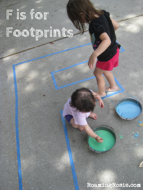 F is for Footprints  {Alphabet Activities at RoamingRosie.com}