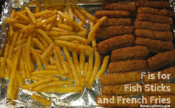 F is for Fish Sticks and French Fries {Alphabet Activities at RoamingRosie.com}