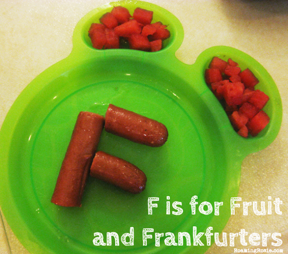 F is for Fruit and Franfurters {Alphabet Activities at RoamingRosie.com}