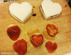Heart Shaped Strawberries and Sandwiches for Kids Lunches