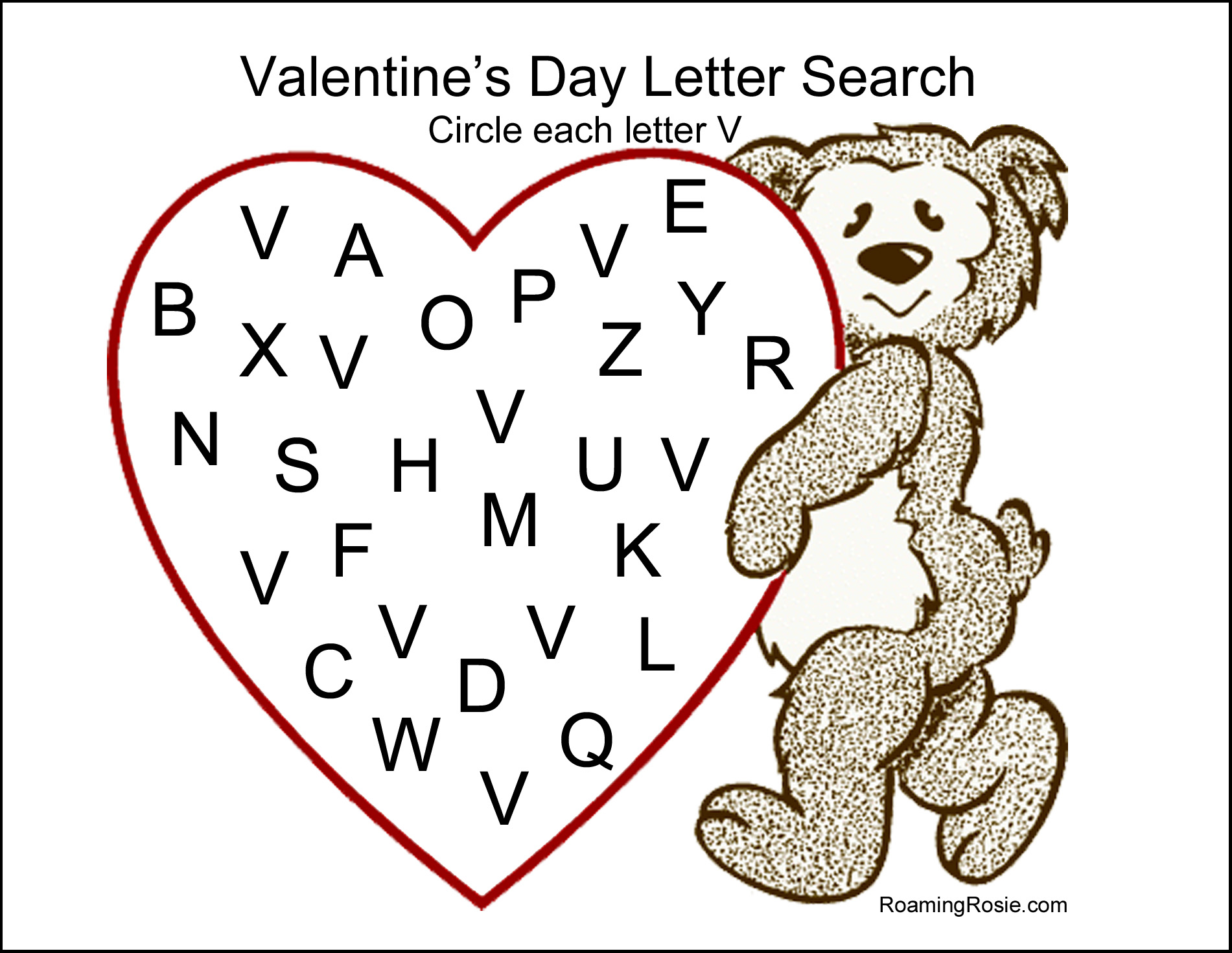 valentine s day letter search free printable worksheet roaming rosie. Black Bedroom Furniture Sets. Home Design Ideas