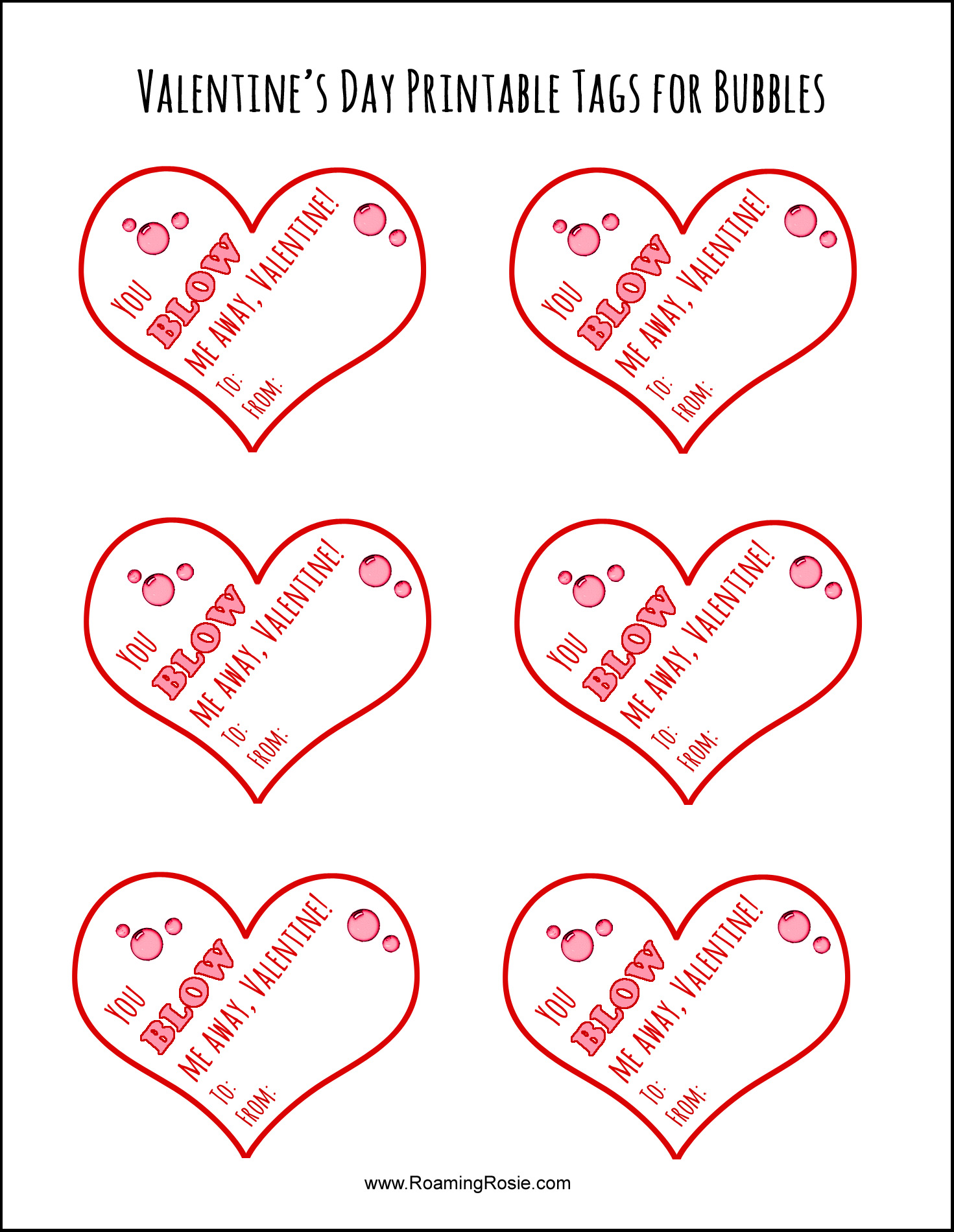 picture about Bubble Valentine Printable known as Valentines Working day Printable Tags for Bubbles Roaming Rosie