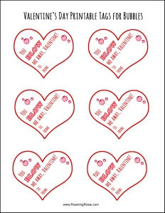 Valentine's Day Printable Tags for Bubbles