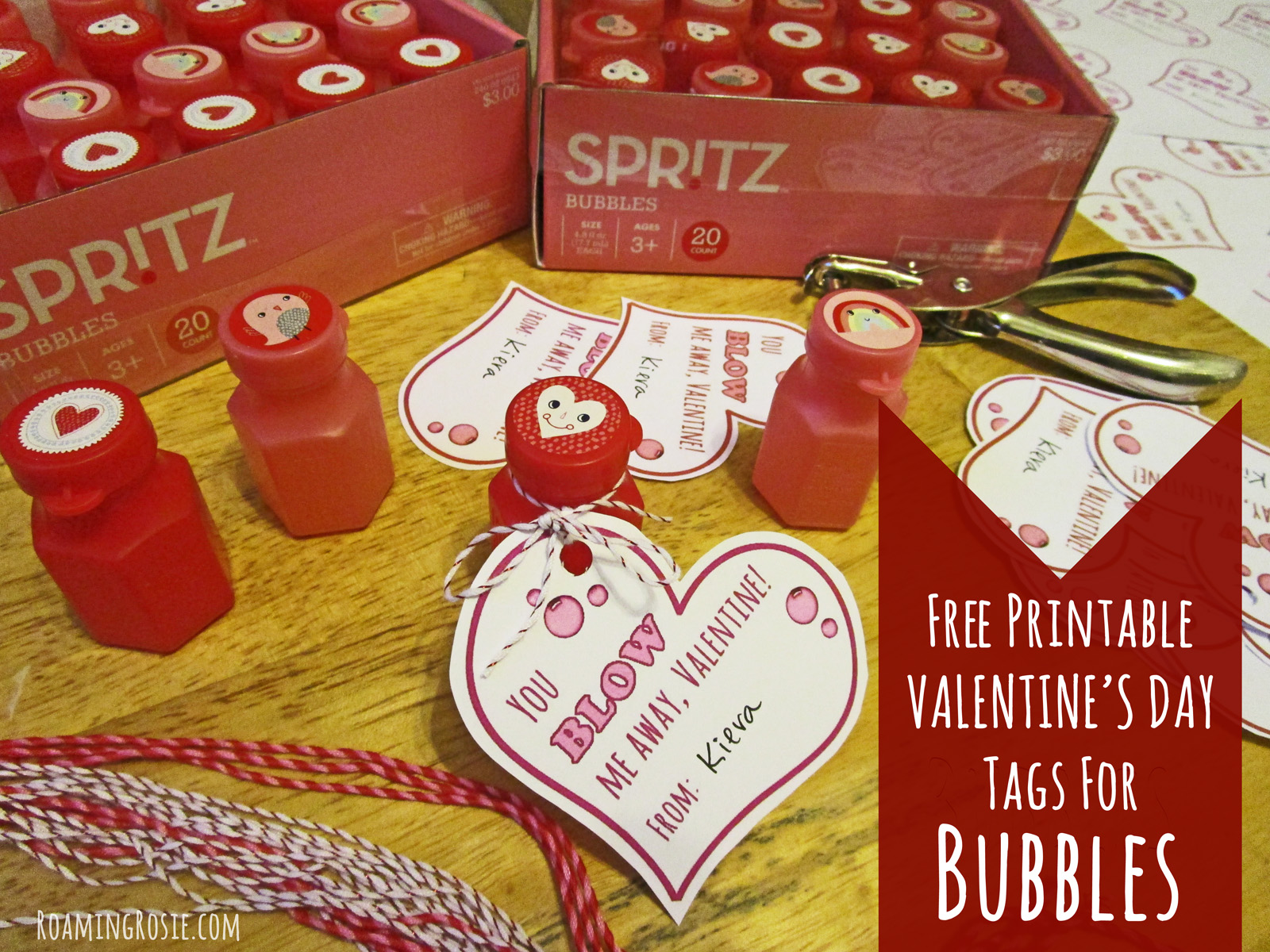 image about Bubble Valentine Printable identified as Valentines Working day Printable Tags for Bubbles Roaming Rosie