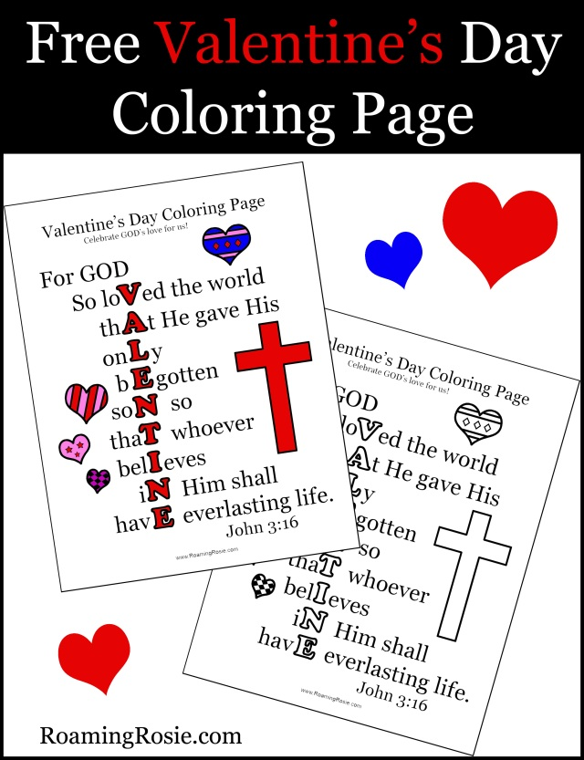 Free Valentine's Day Printable Coloring Page with John 3:16 Quote