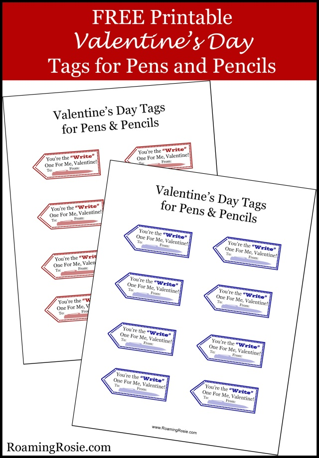 FREE Valentine's Day Tags for Pens and Pencils