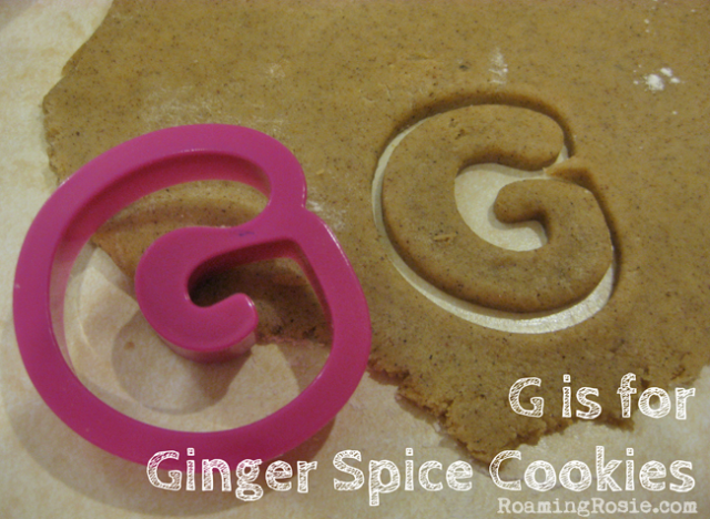 G is for Ginger Spice Cookies {Alphabet Activities for Kids at Roaming Rosie}