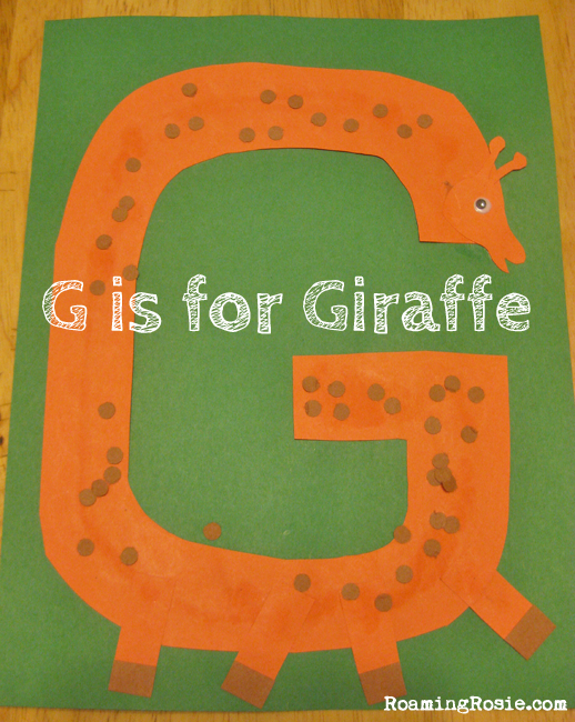 G is for Giraffe paper craft {Alphabet Activities for Kids at Roaming Rosie}