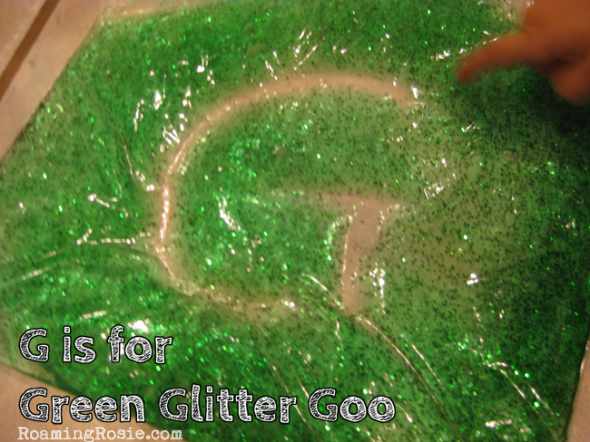 G is for Green Glitter Goo {Alphabet Activities for Kids at Roaming Rosie}