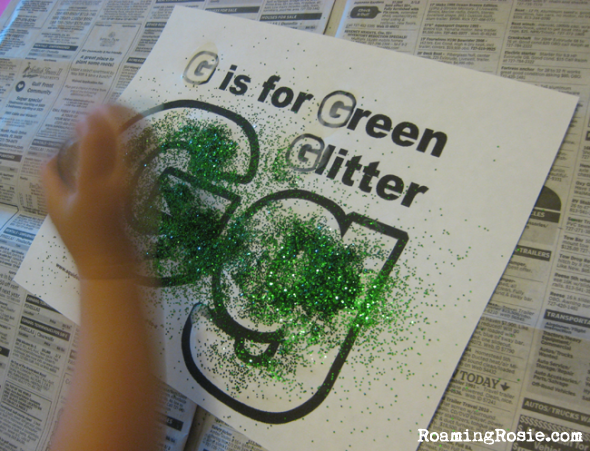 G is for Green Glitter printable worksheet {Alphabet Activities for Kids at Roaming Rosie}