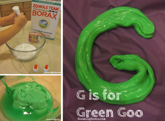 G is for Green Goo {Alphabet Activities for Kids at Roaming Rosie}