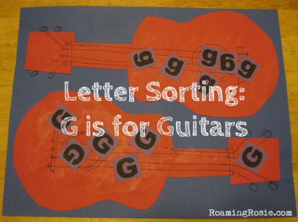 G is for Guitars letter sorting paper craft  {Alphabet Activities for Kids at Roaming Rosie}