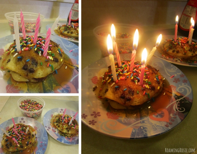 Birthday Candle Pancake Breakfast with Sprinkles!