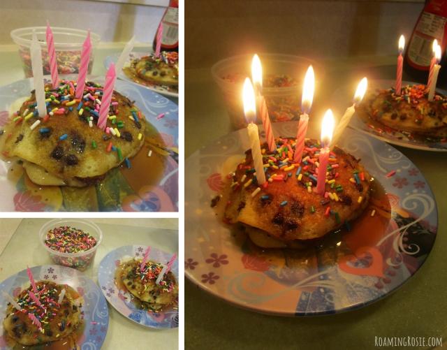 Birthday Candle Pancake Breakfast with Sprinkles!