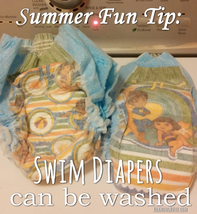 Summer Fun Tip:  Swim Diapers Can Be Washed!  #momtips #frugalmom