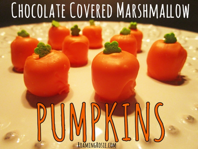 Chocolate Covered Marshmallow Pumpkins for Halloween