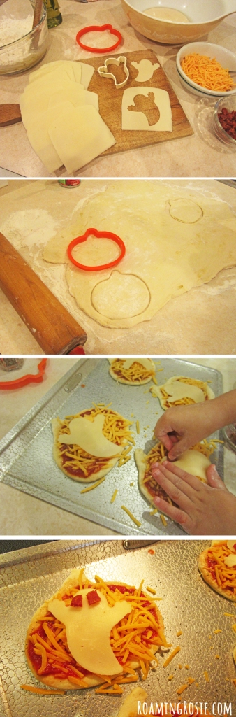 Pumpkin Shaped Pizzas with Ghost Cheese for Halloween 2