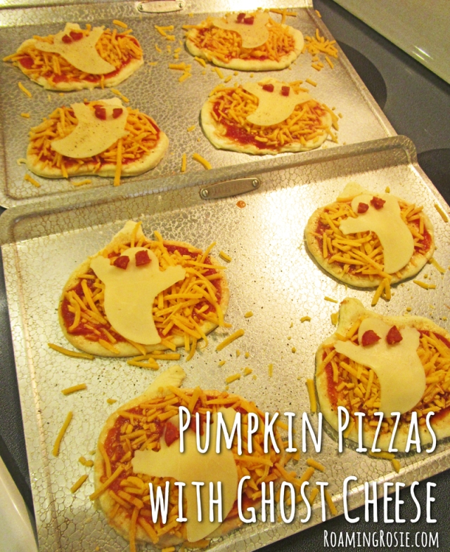 Pumpkin Shaped Pizzas with Ghost Cheese for Halloween