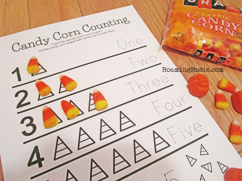 Candy Corn and Pumpkins Free Printable Halloween Worksheets 2