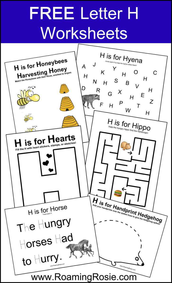 letter h free alphabet worksheets for kids roaming rosie. Black Bedroom Furniture Sets. Home Design Ideas