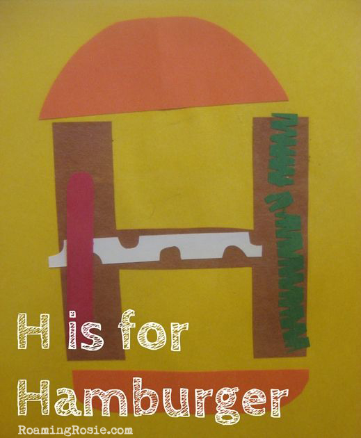 H is for Hamburger Letter H Alphabet Activities from Roaming Rosie