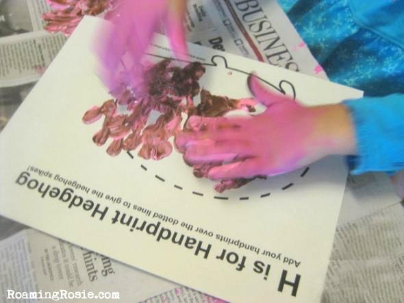 H is for Handprint Hedgehog free printable alphabet activity worksheet from Roaming Rosie