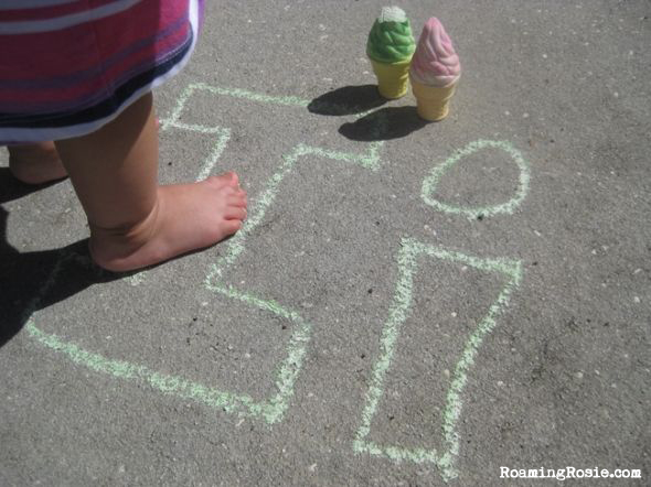 I is for Ice Cream Chalk Alphabet Activities with Roaming Rosie