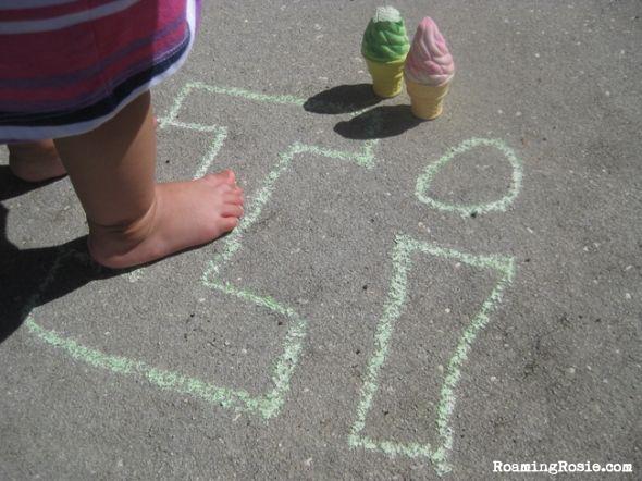 I is for Ice Cream Chalk Alphabet Activities with Roaming Rosie