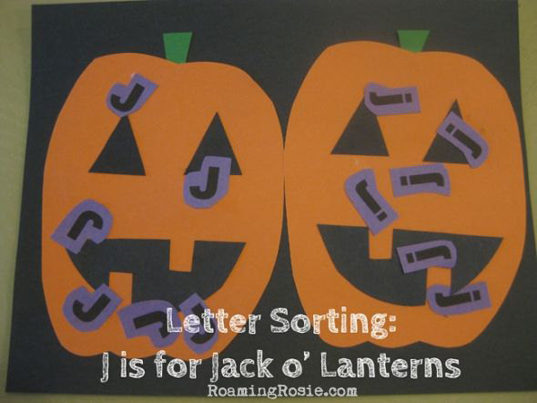 J is for Jack o Lanters Letter Sorting Alphabet Activities from Roaming Rosie