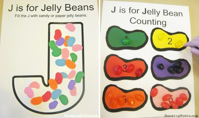 J is for Jelly Beans Alphabet Activities from Roaming Rosie